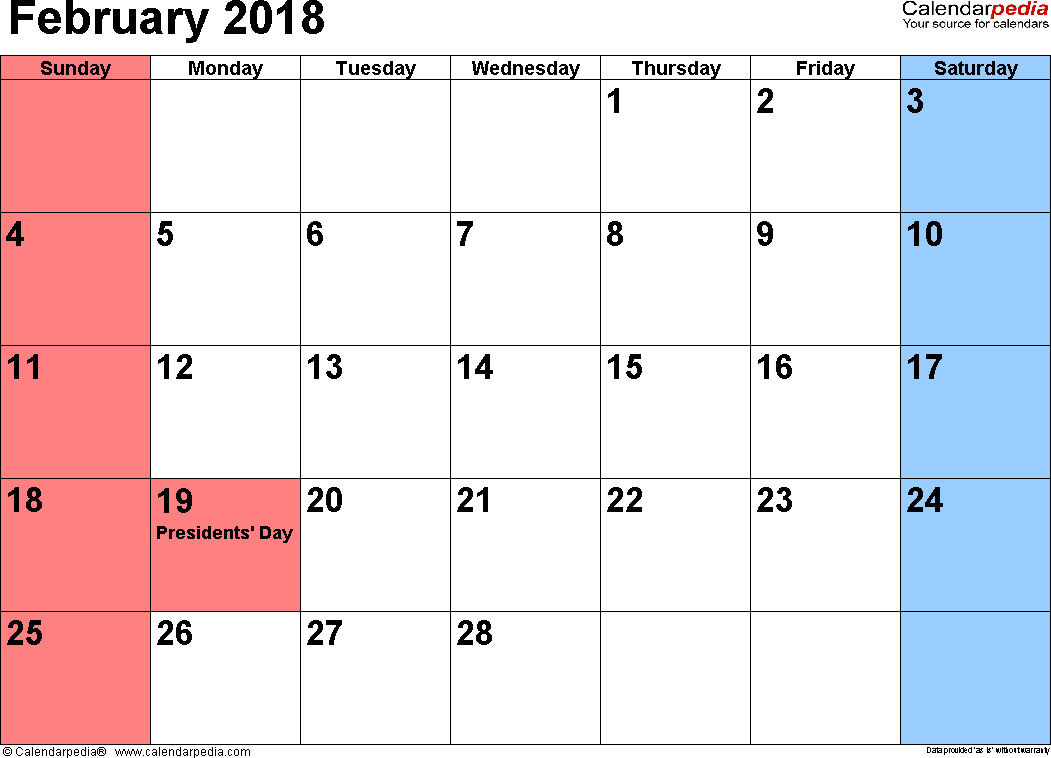 February 2018 Calendars for Word, Excel & PDF