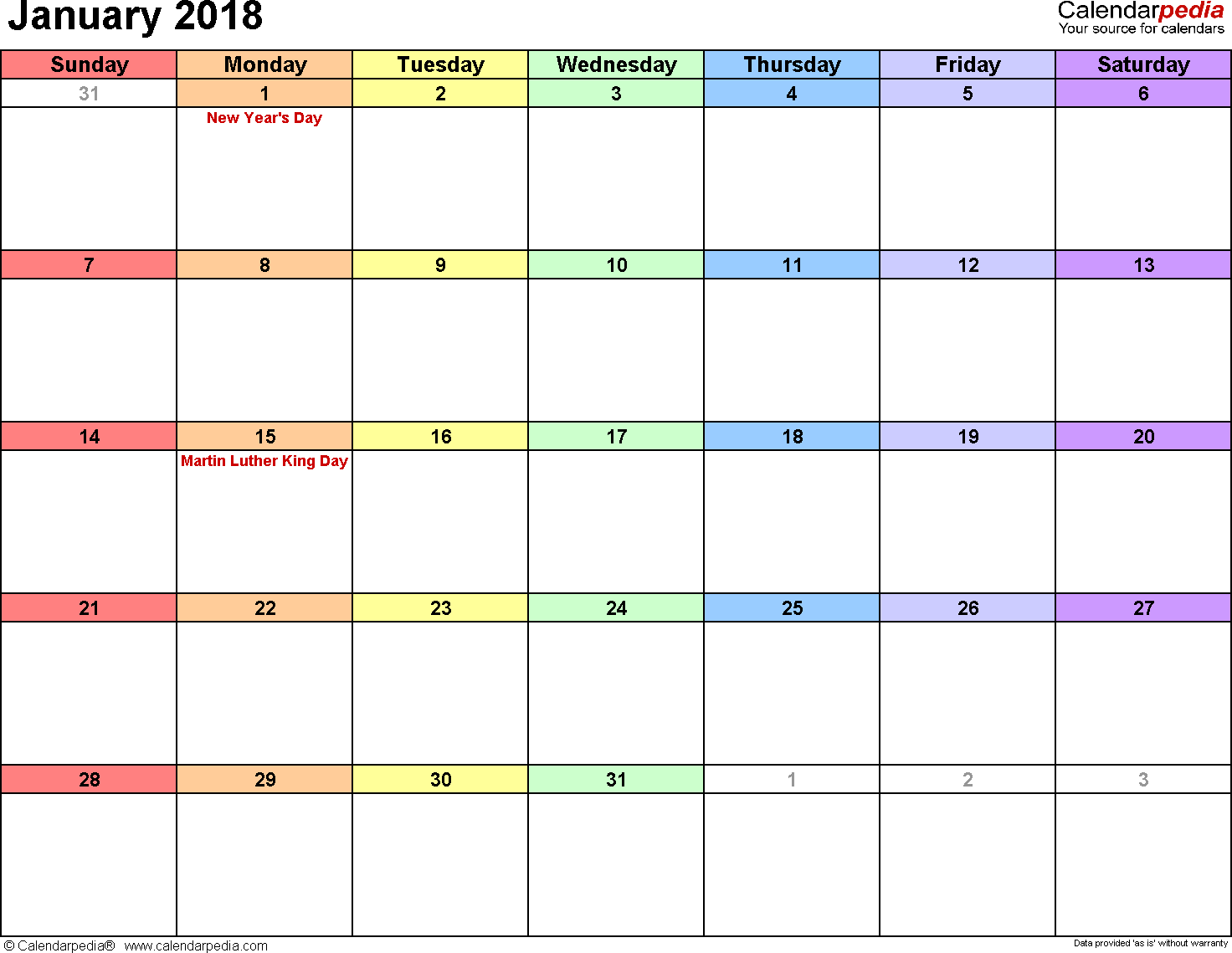 January 2018 calendar, landscape orientation, 'rainbow calendar', available as printable templates for Word, Excel and PDF