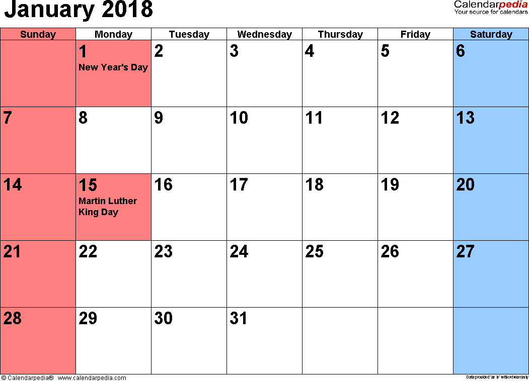 January 2018 Calendars For Word Excel Pdf