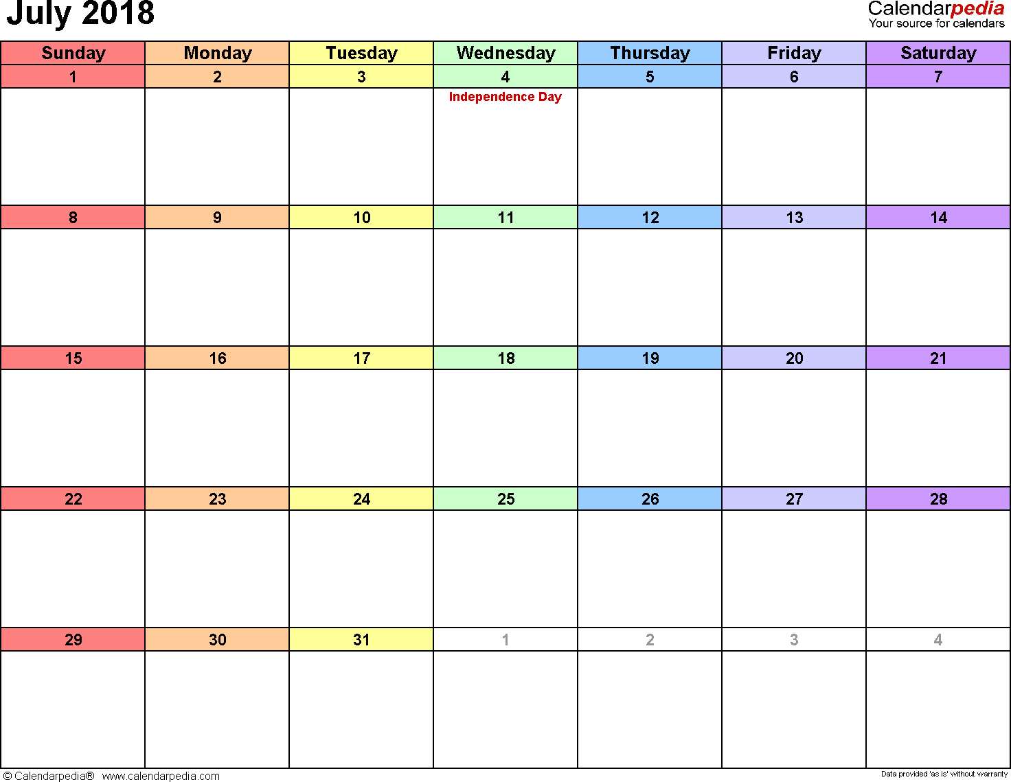 July 2018 calendar, landscape orientation, 'rainbow calendar', available as printable templates for Word, Excel and PDF