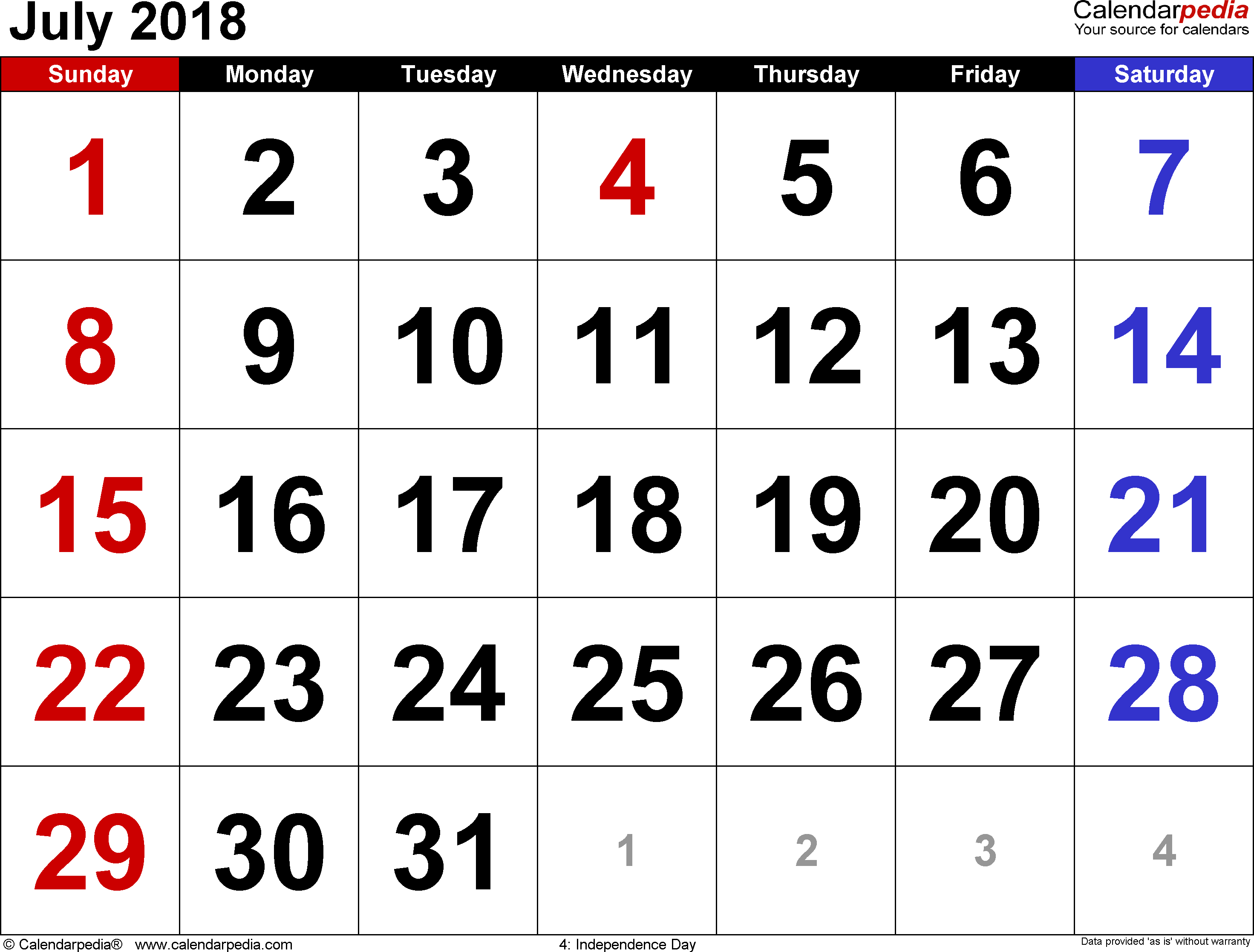 July 2018 calendar, landscape orientation, large numerals, available as printable templates for Word, Excel and PDF