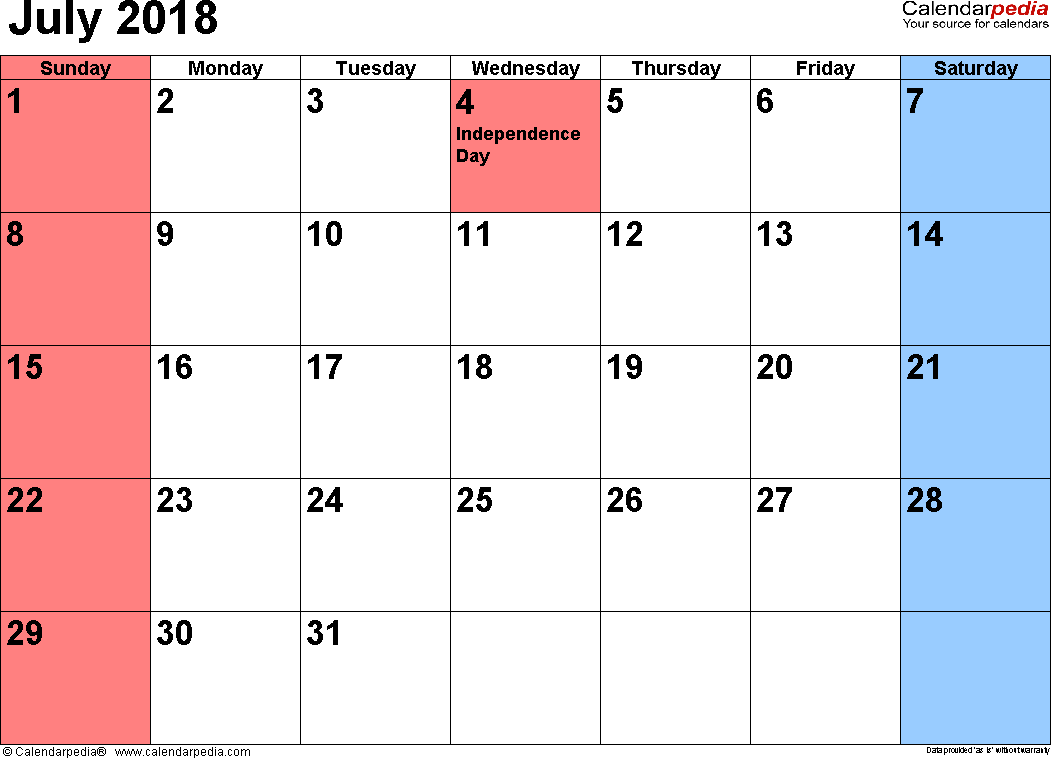 July 2018 calendar, landscape orientation, small numerals, available as printable templates for Word, Excel and PDF