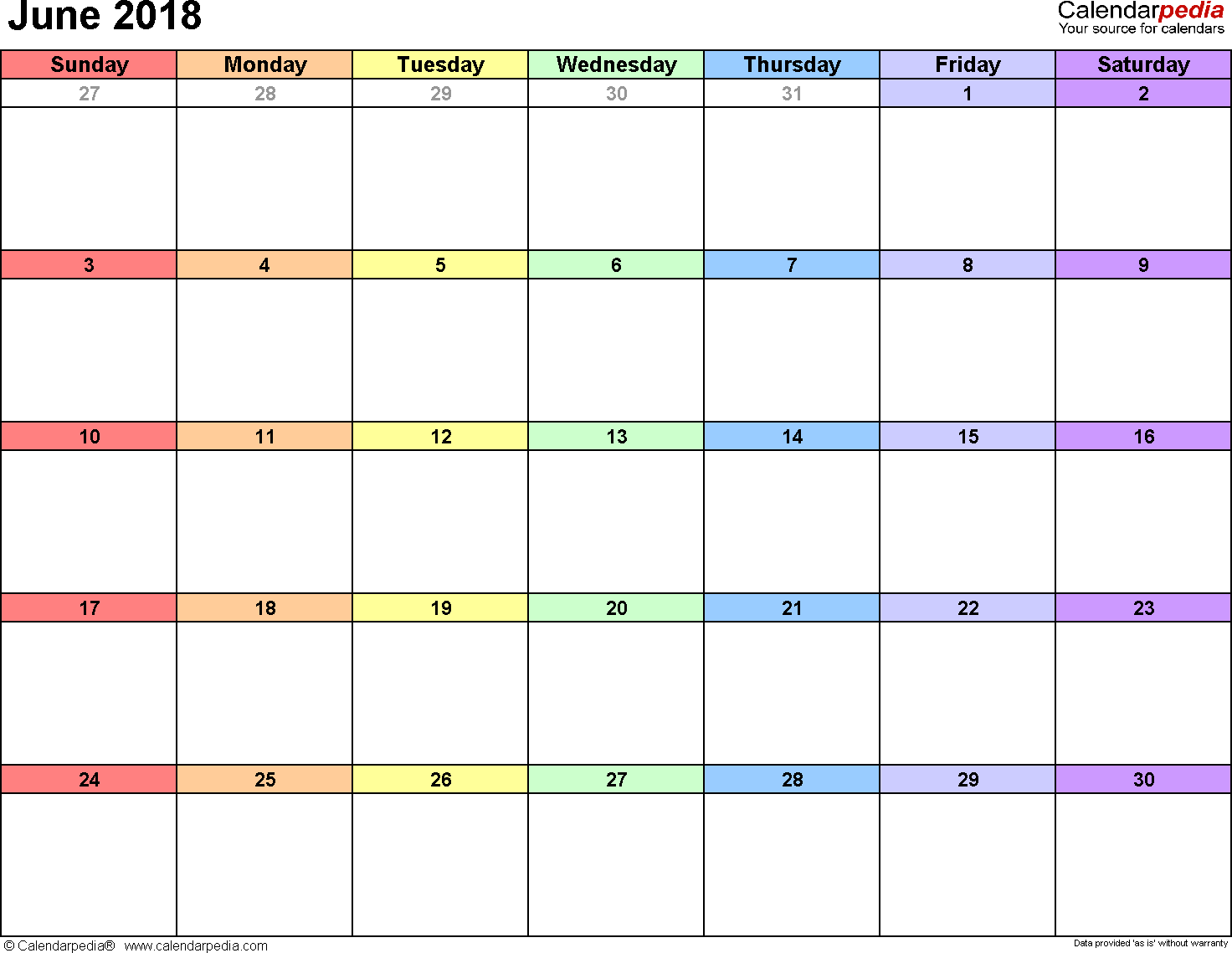 June 2018 calendar, landscape orientation, 'rainbow calendar', available as printable templates for Word, Excel and PDF