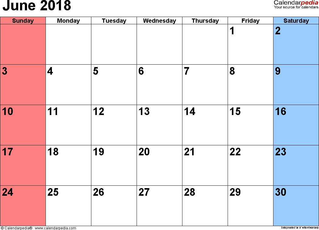 June 2018 calendar, landscape orientation, small numerals, available as printable templates for Word, Excel and PDF