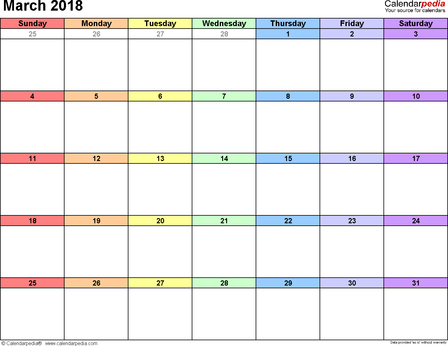 March 2018 calendar, landscape orientation, 'rainbow calendar', available as printable templates for Word, Excel and PDF