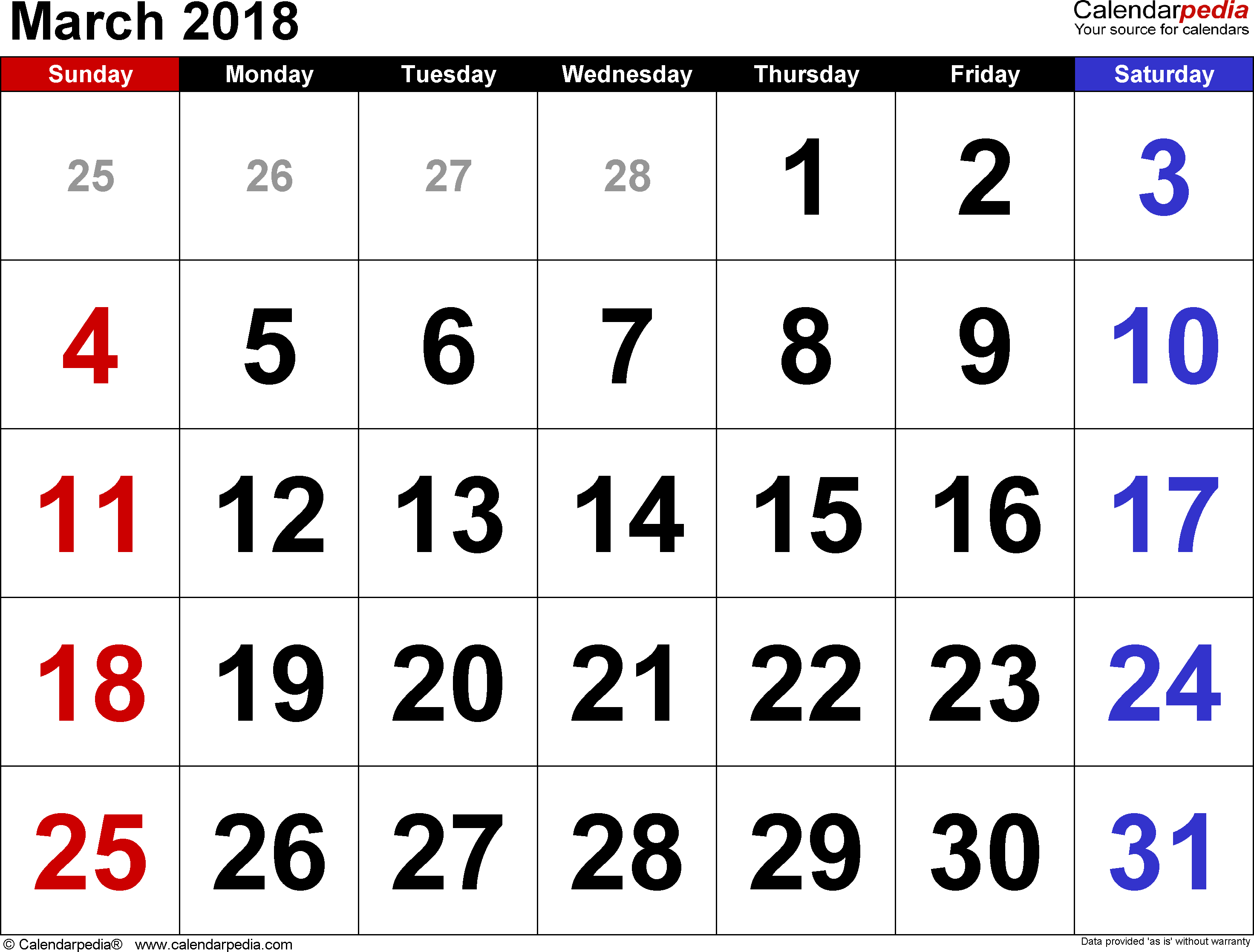 March 2018 calendar, landscape orientation, large numerals, available as printable templates for Word, Excel and PDF