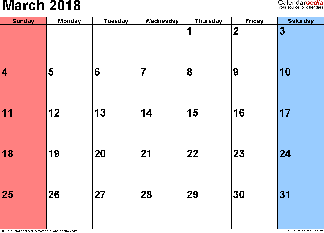 March 2018 calendar, landscape orientation, small numerals, available as printable templates for Word, Excel and PDF