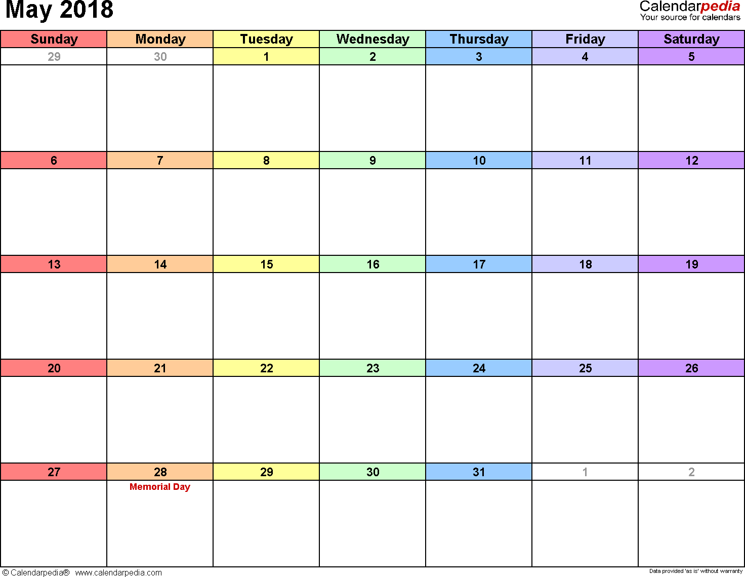 May 2018 calendar, landscape orientation, 'rainbow calendar', available as printable templates for Word, Excel and PDF