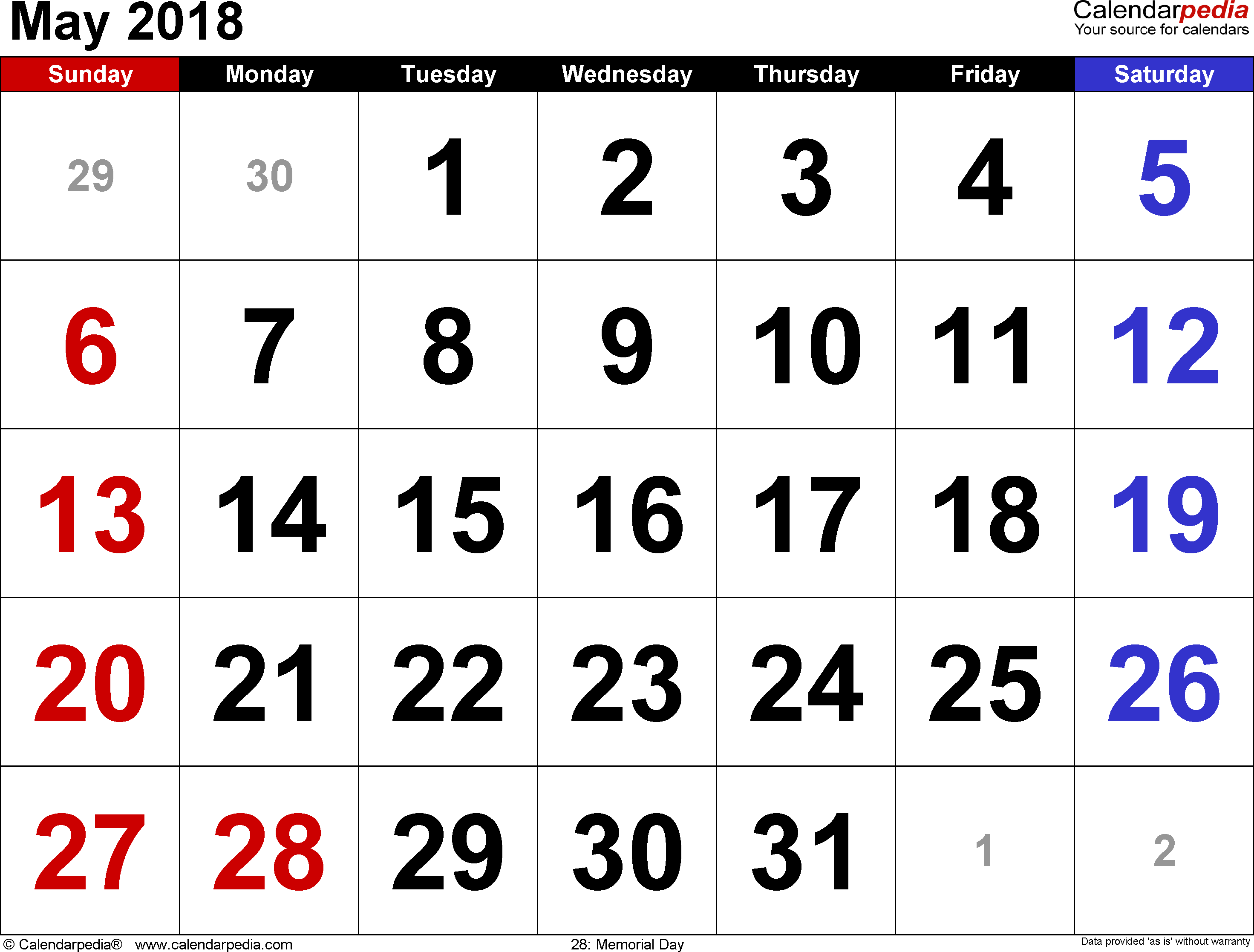 May 2018 calendar, landscape orientation, large numerals, available as printable templates for Word, Excel and PDF