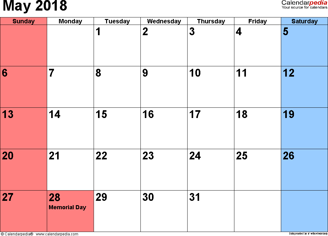 May 2018 calendar, landscape orientation, small numerals, available as printable templates for Word, Excel and PDF