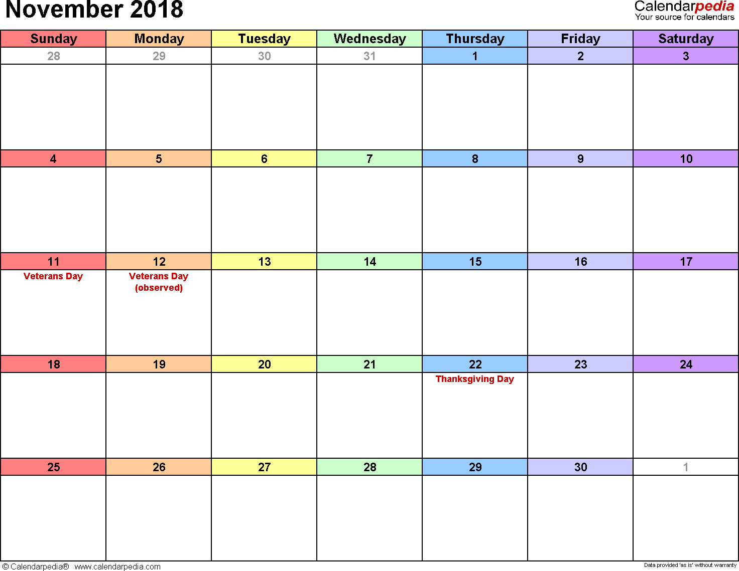 picture relating to Printable November Calendar Pdf identify November 2018 Calendars for Term, Excel PDF