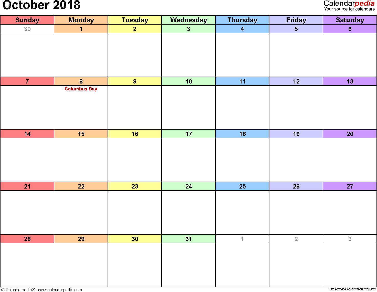 October 2018 calendar, landscape orientation, 'rainbow calendar', available as printable templates for Word, Excel and PDF