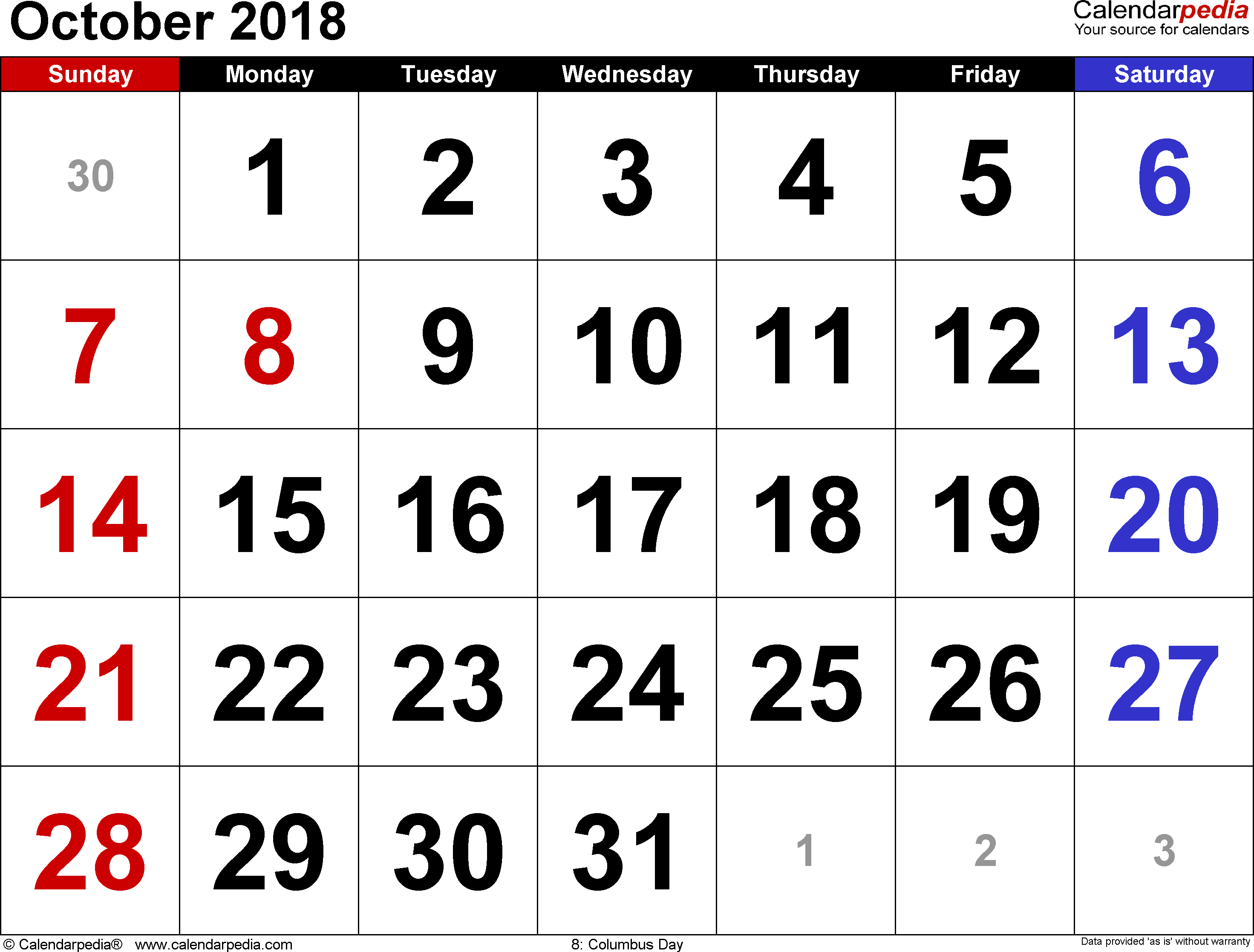 October 2018 calendar, landscape orientation, large numerals, available as printable templates for Word, Excel and PDF