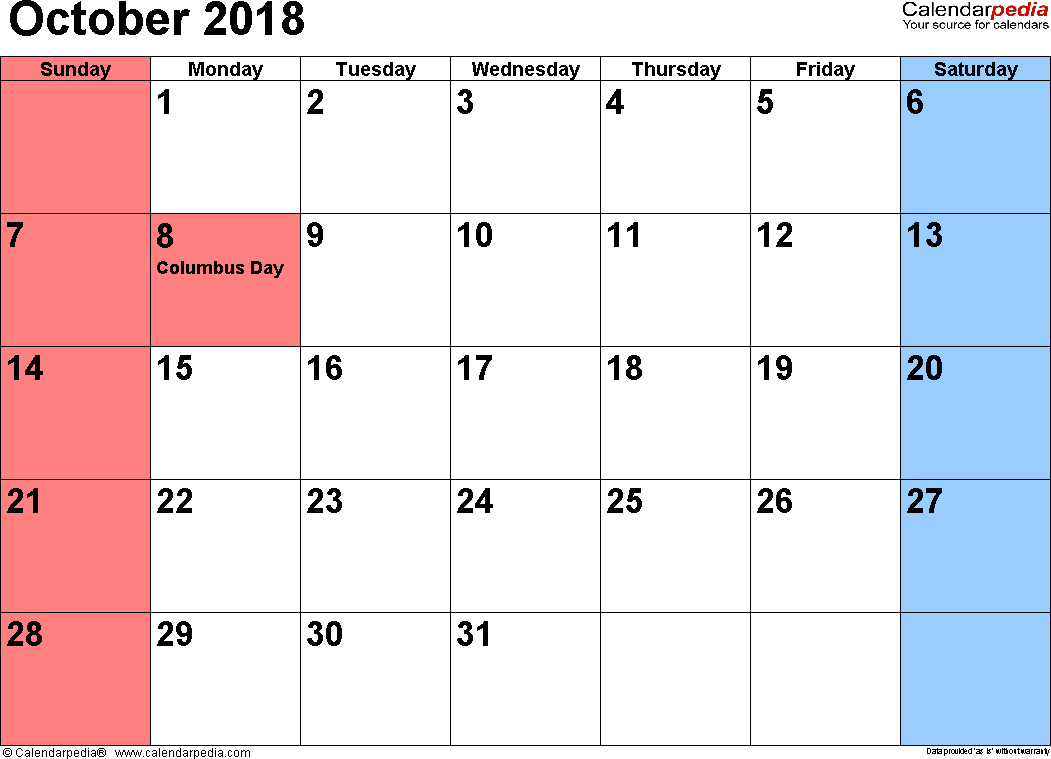 October 2018 calendar, landscape orientation, small numerals, available as printable templates for Word, Excel and PDF