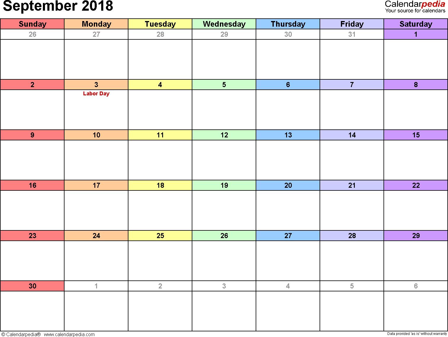 September 2018 calendar, landscape orientation, 'rainbow calendar', available as printable templates for Word, Excel and PDF