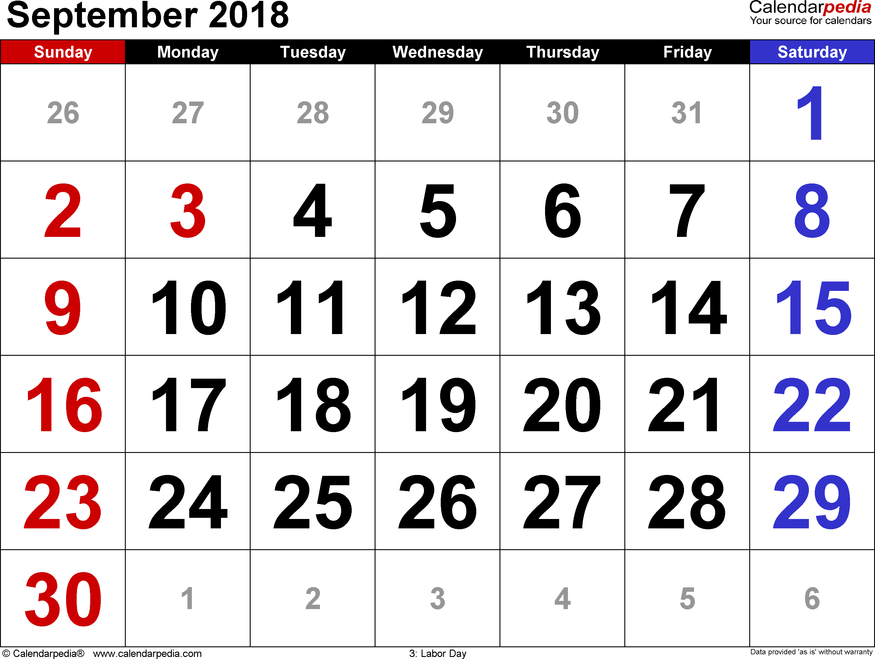 September 2018 calendar, landscape orientation, large numerals, available as printable templates for Word, Excel and PDF