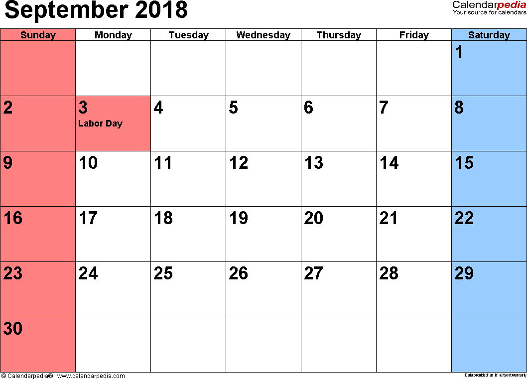 September 2018 calendar, landscape orientation, small numerals, available as printable templates for Word, Excel and PDF