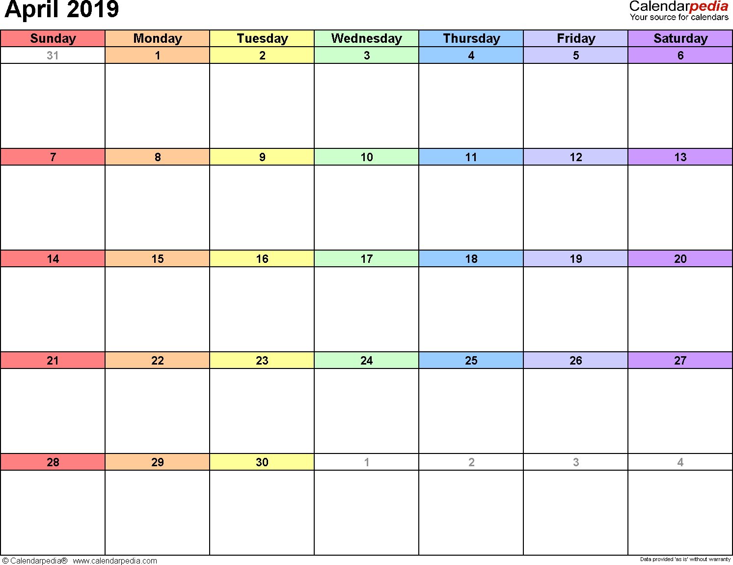 April 2019 calendar, landscape orientation, 'rainbow calendar', available as printable templates for Word, Excel and PDF