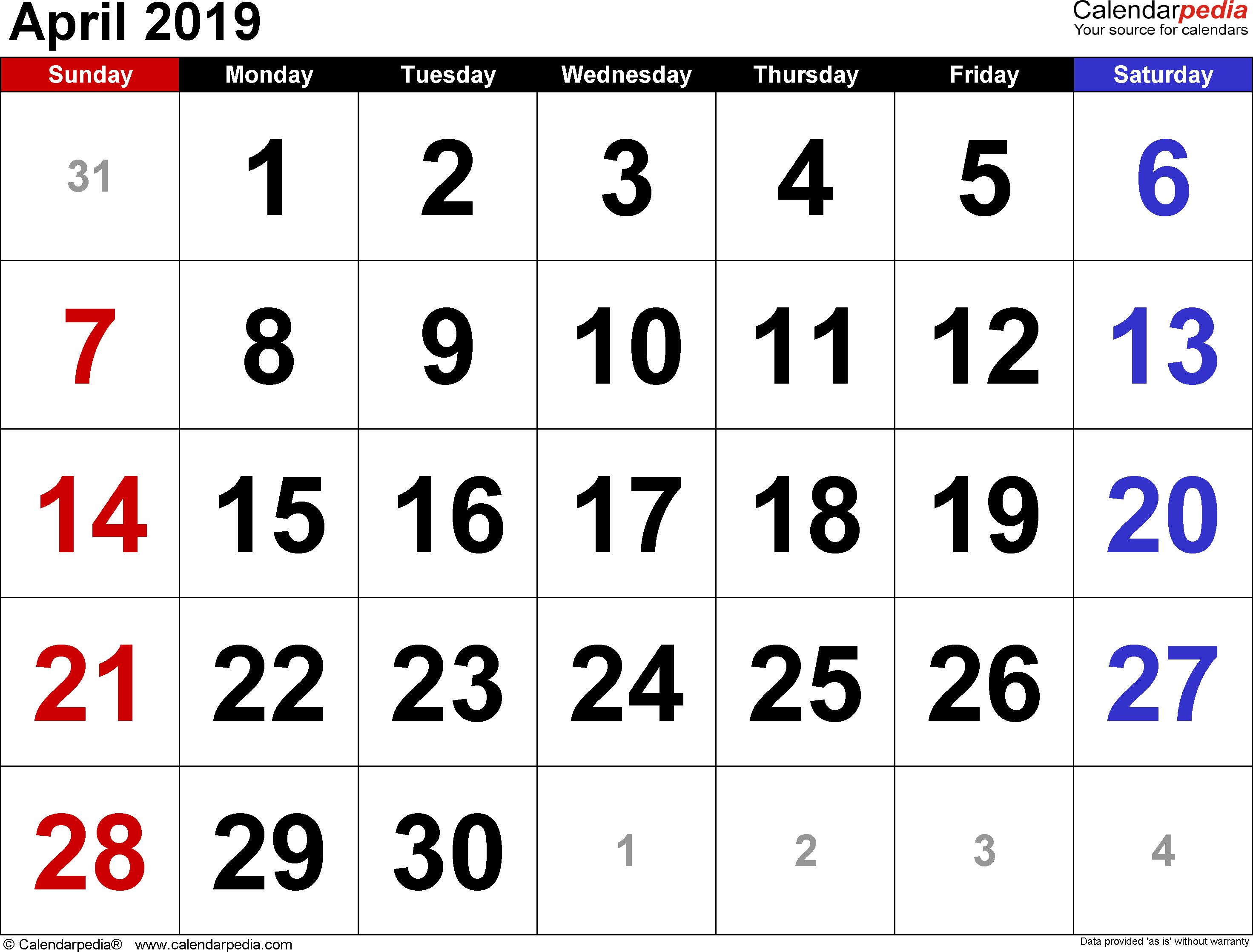 April 2019 calendar, landscape orientation, large numerals, available as printable templates for Word, Excel and PDF