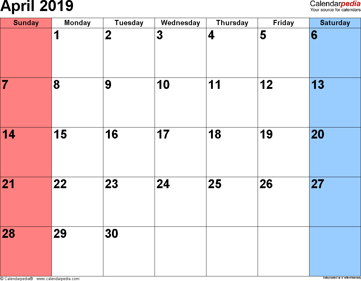 April 2019 calendar, landscape orientation, small numerals, available as printable templates for Word, Excel and PDF