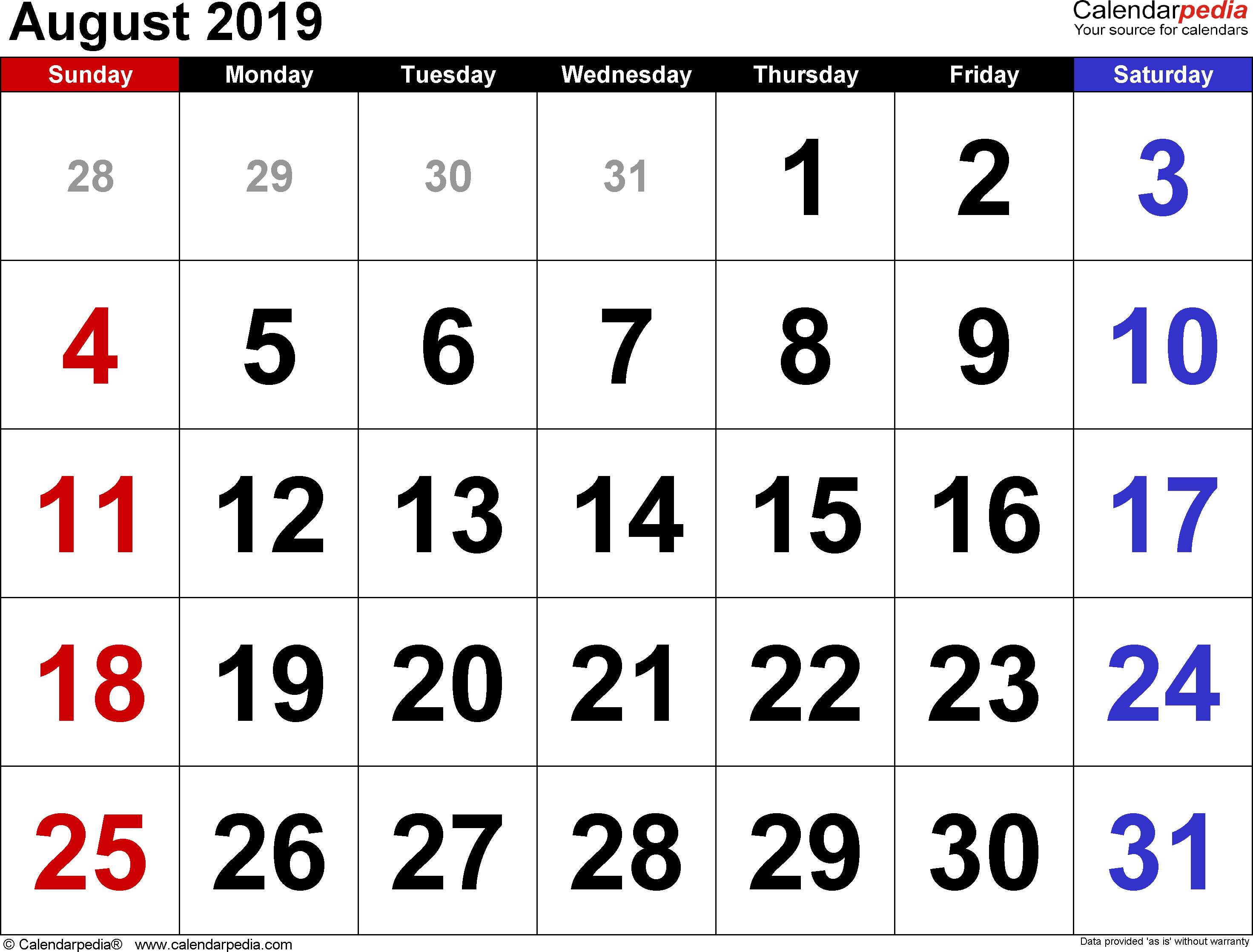August 2019 calendar, landscape orientation, large numerals, available as printable templates for Word, Excel and PDF