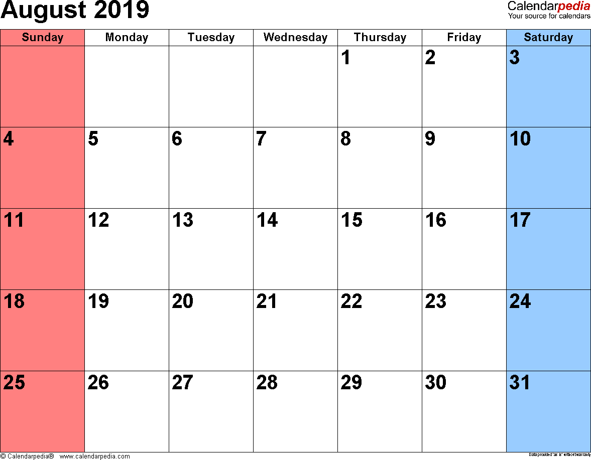 August 2019 calendar, landscape orientation, small numerals, available as printable templates for Word, Excel and PDF