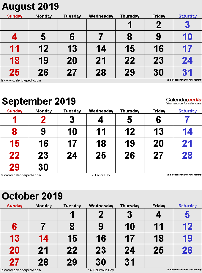 three month calendar August/September/October 2019 in portrait orientation