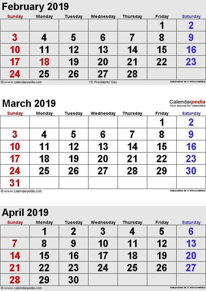 3 months calendar February/March/April 2019 in portrait format