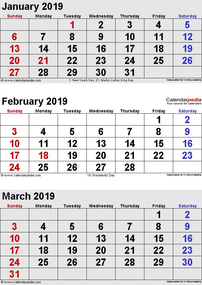 3 months calendar January/February/March 2019 in portrait format