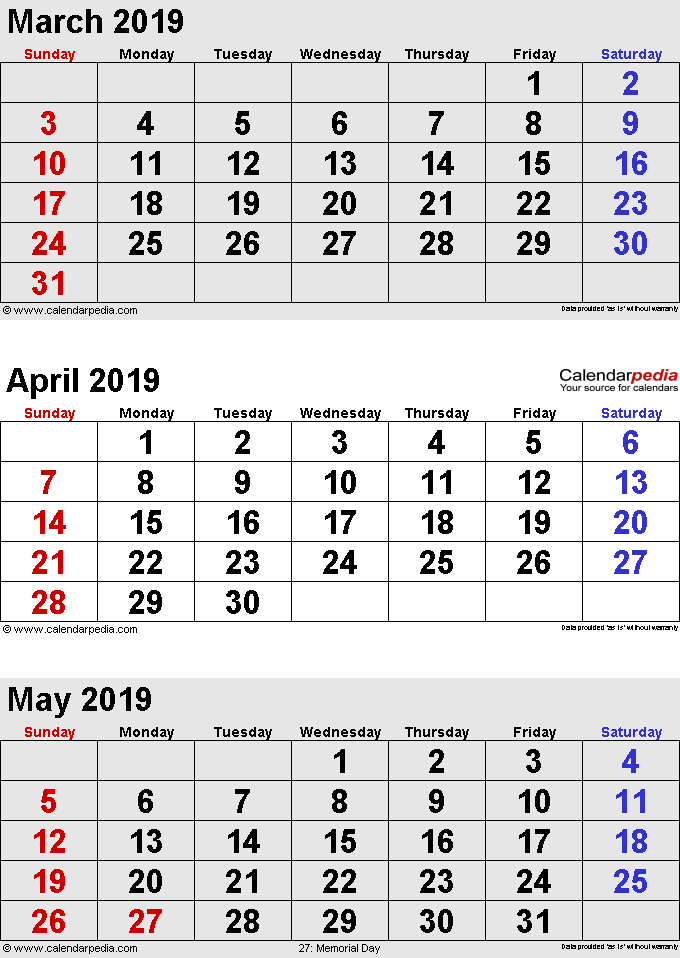 three month calendar March/April/May 2019 in portrait orientation