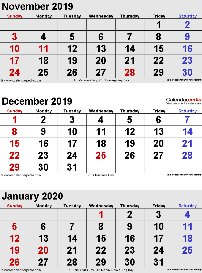 Calendar For November 2020-January 2020 December 2019 Calendars for Word, Excel & PDF