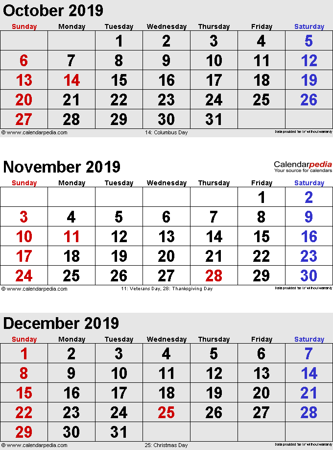 three month calendar October/November/December 2019 in portrait orientation