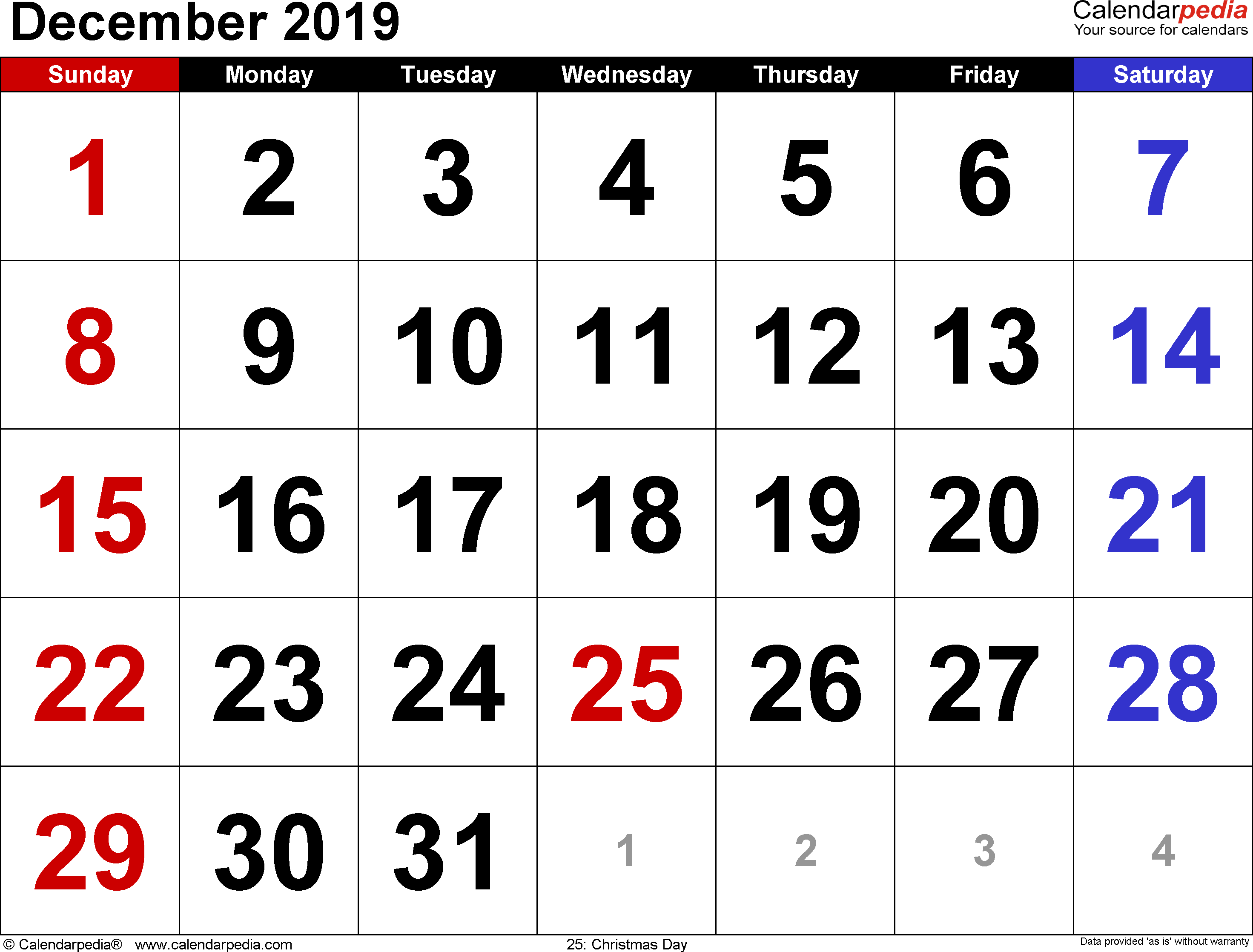 December 2019 Calendars For Word Excel Pdf