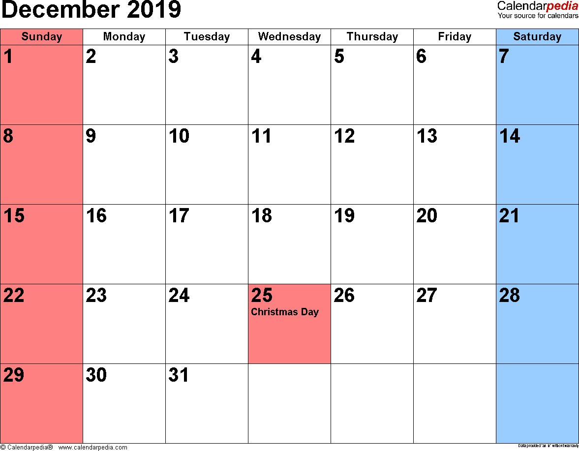 Picture Of Calendar For December 2019 December 2019 Calendars for Word, Excel & PDF
