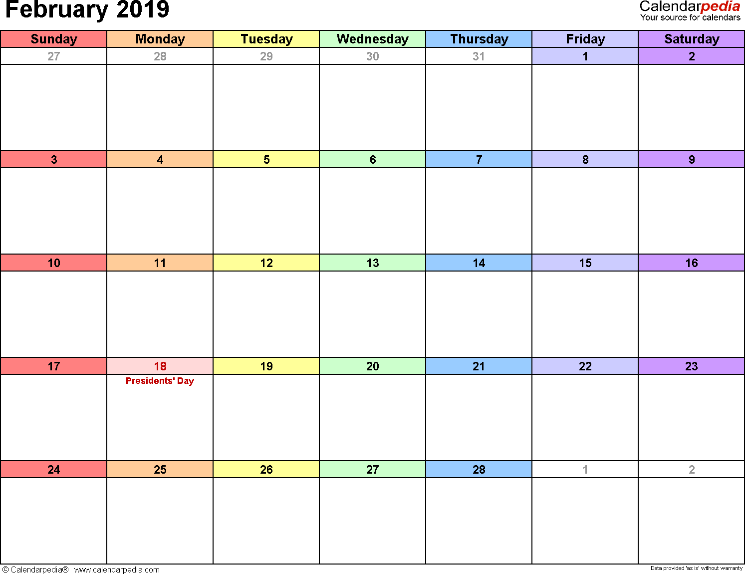 February Weekly Calendar 2019 February 2019 Calendars for Word, Excel & PDF