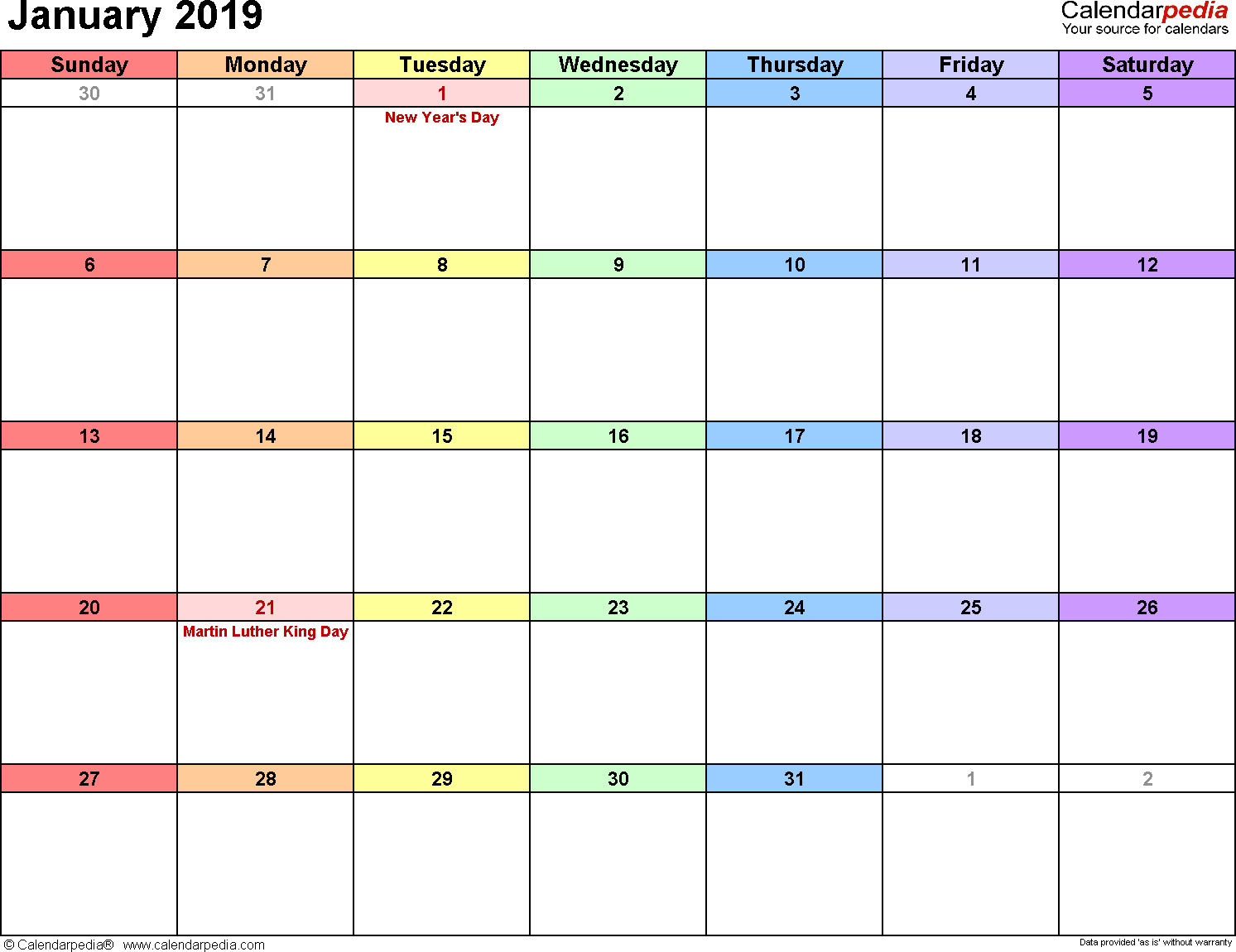 January 2019 calendar, landscape orientation, 'rainbow calendar', available as printable templates for Word, Excel and PDF