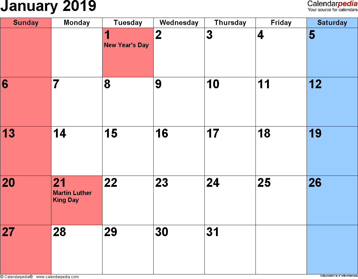 Jan Calendar 2019 January 2019 Calendars for Word, Excel & PDF