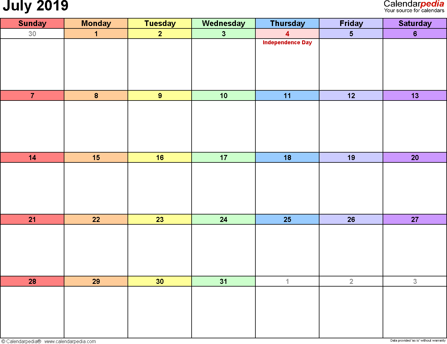July 2019 calendar, landscape orientation, 'rainbow calendar', available as printable templates for Word, Excel and PDF
