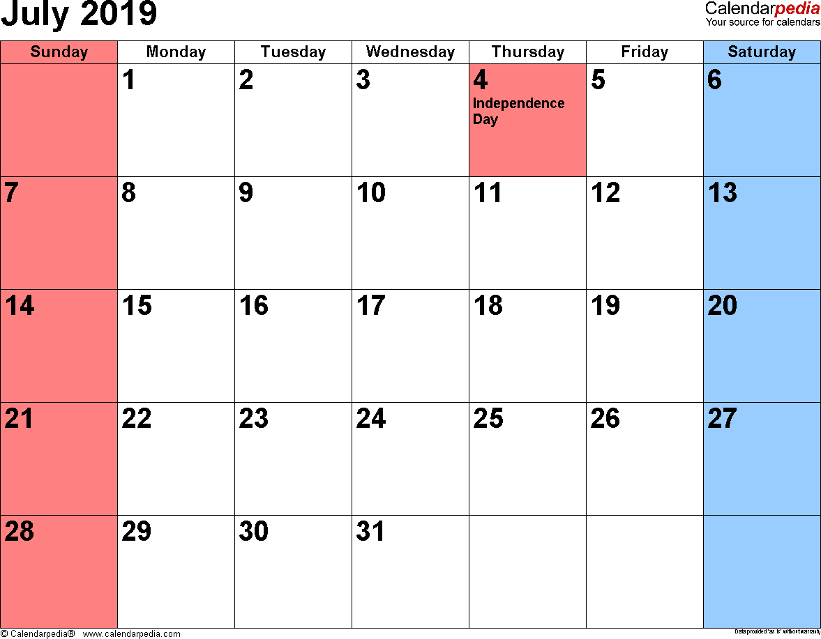 July 4 2019 Calendar July 2019 Calendars for Word, Excel & PDF
