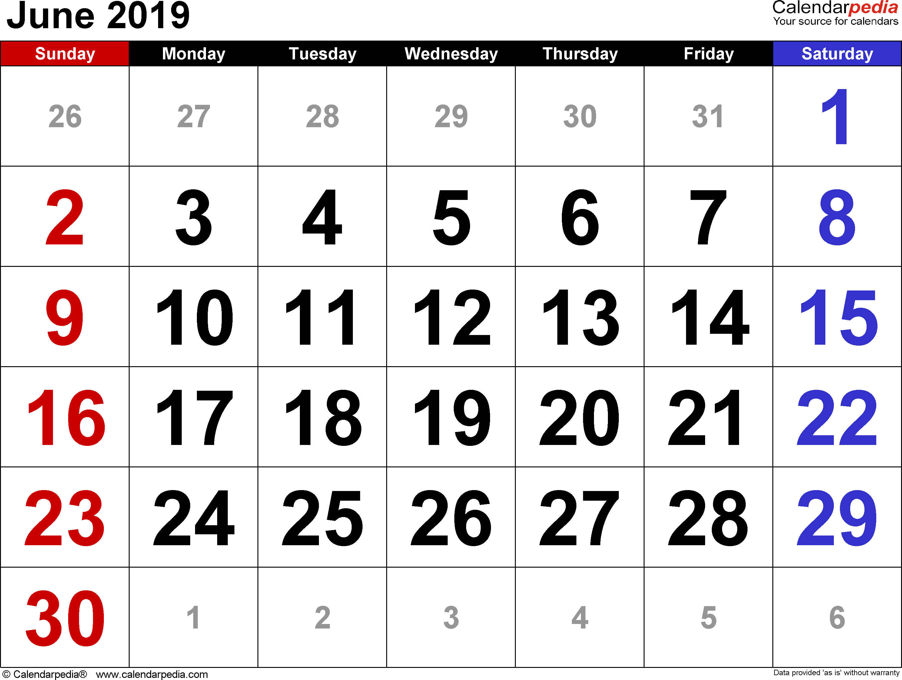 June 2019 calendar, landscape orientation, large numerals, available as printable templates for Word, Excel and PDF