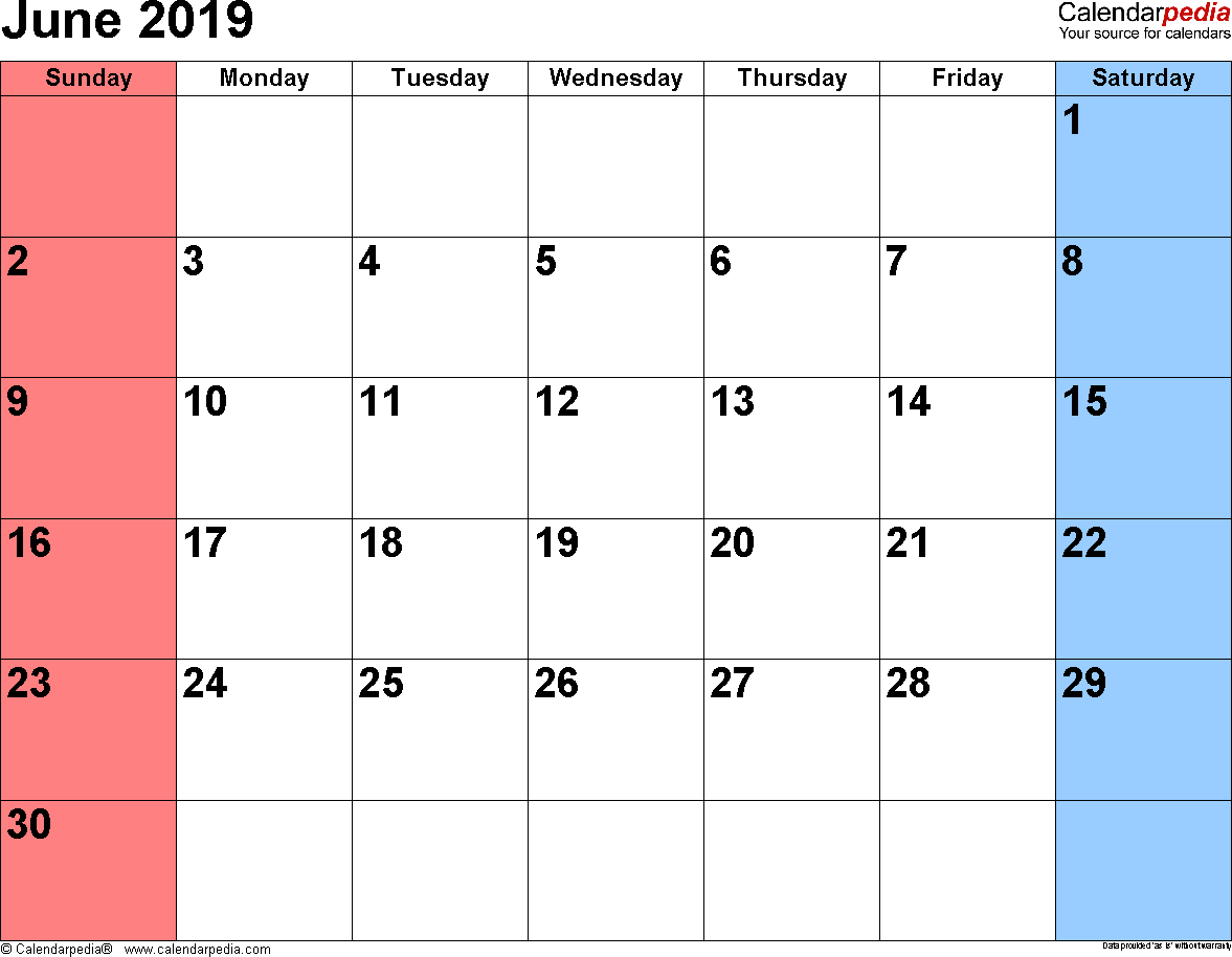 Calendar Sheet January 2019 June 2019 Calendars for Word, Excel & PDF