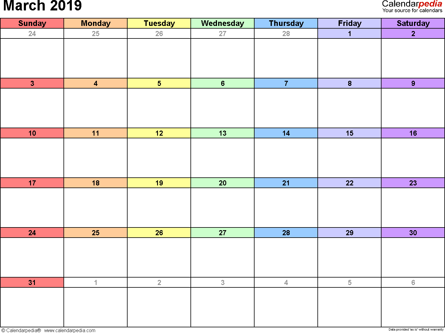 Printable Calendar March 2019.March 2019 Calendars For Word Excel Pdf