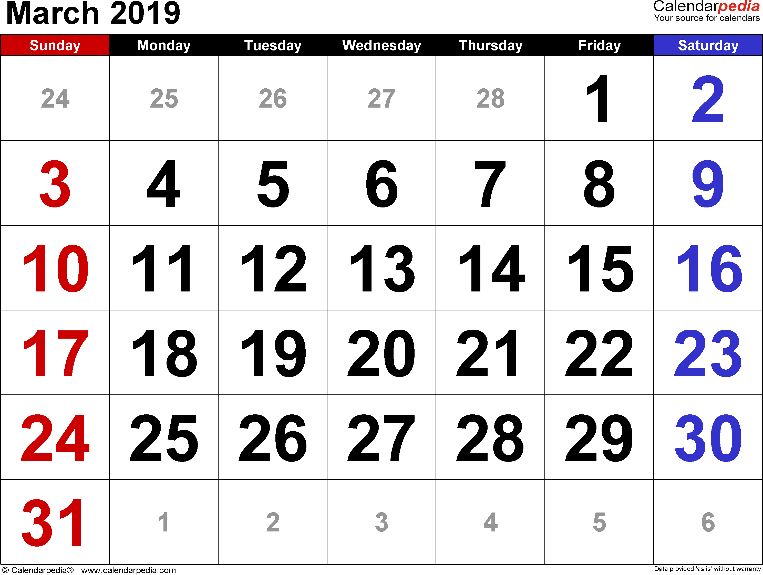 March 2019 calendar, landscape orientation, large numerals, available as printable templates for Word, Excel and PDF