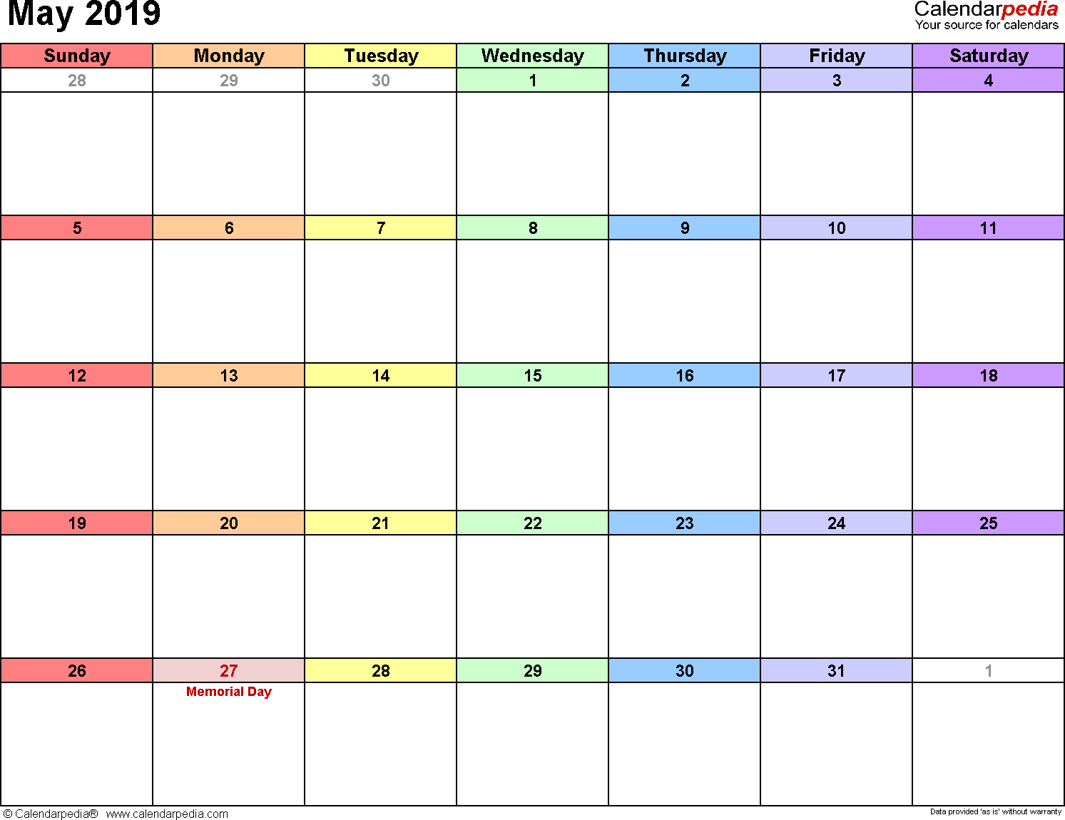 May 2019 calendar, landscape orientation, 'rainbow calendar', available as printable templates for Word, Excel and PDF