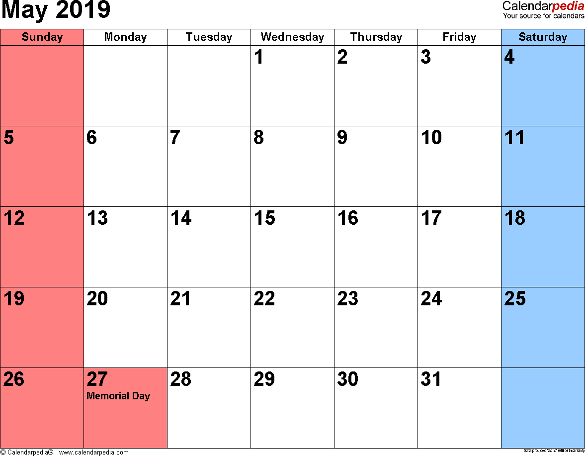 May 2019 Calendars For Word Excel Pdf