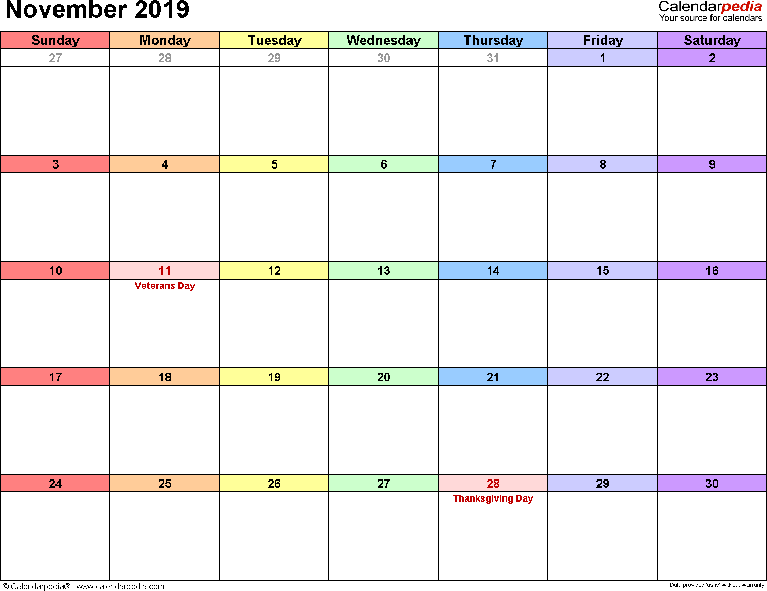 November 2019 calendar, landscape orientation, 'rainbow calendar', available as printable templates for Word, Excel and PDF
