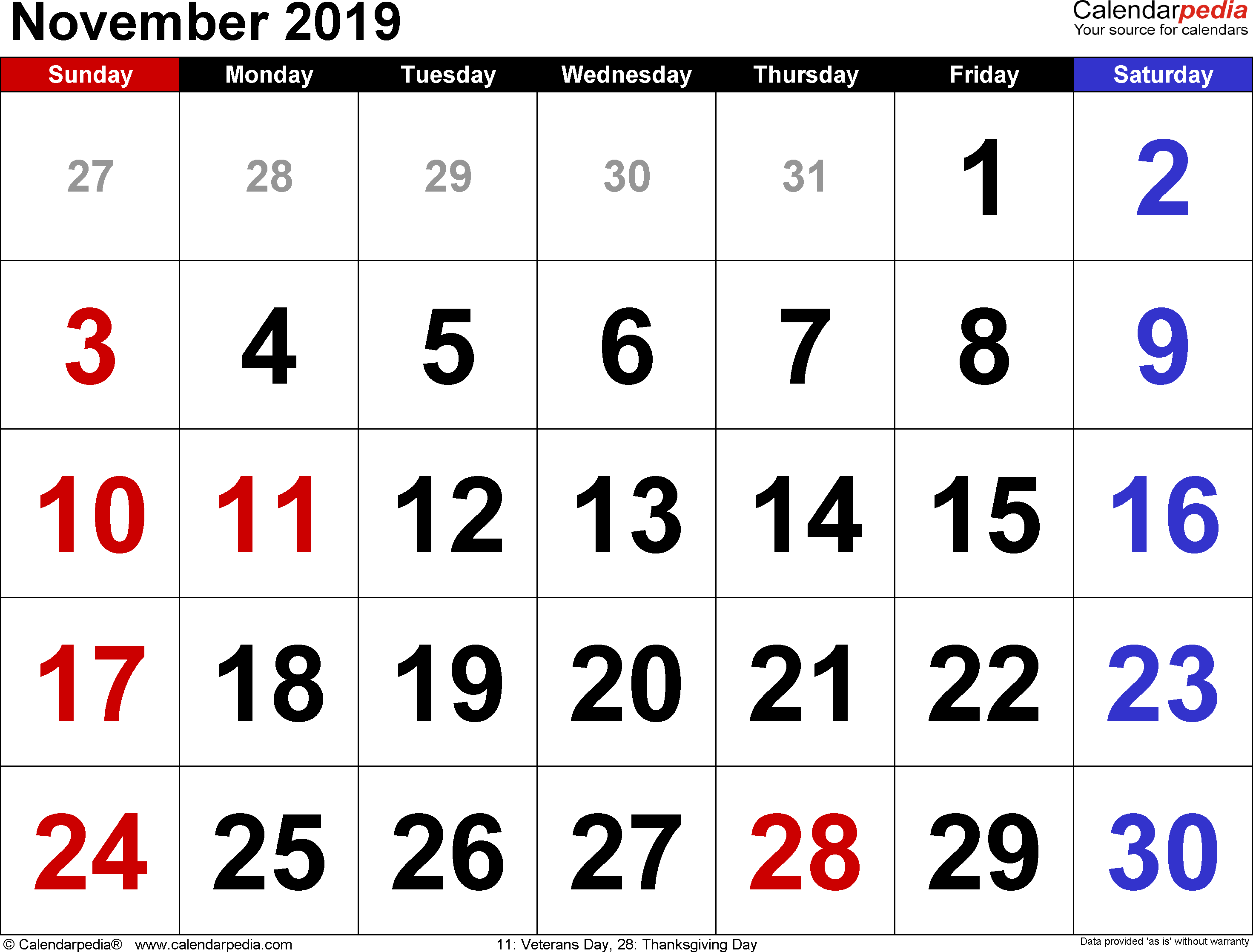 November 2019 calendar, landscape orientation, large numerals, available as printable templates for Word, Excel and PDF