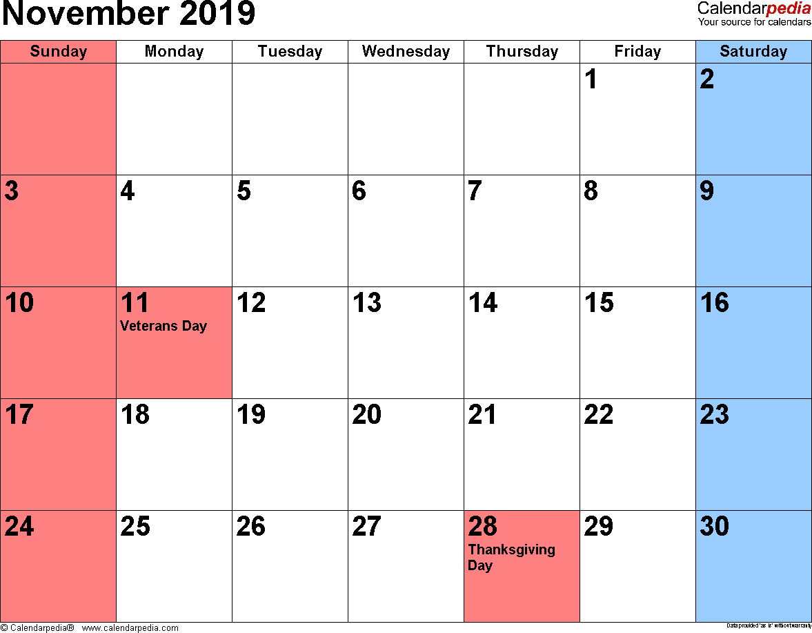 November 2019 calendar, landscape orientation, small numerals, available as printable templates for Word, Excel and PDF