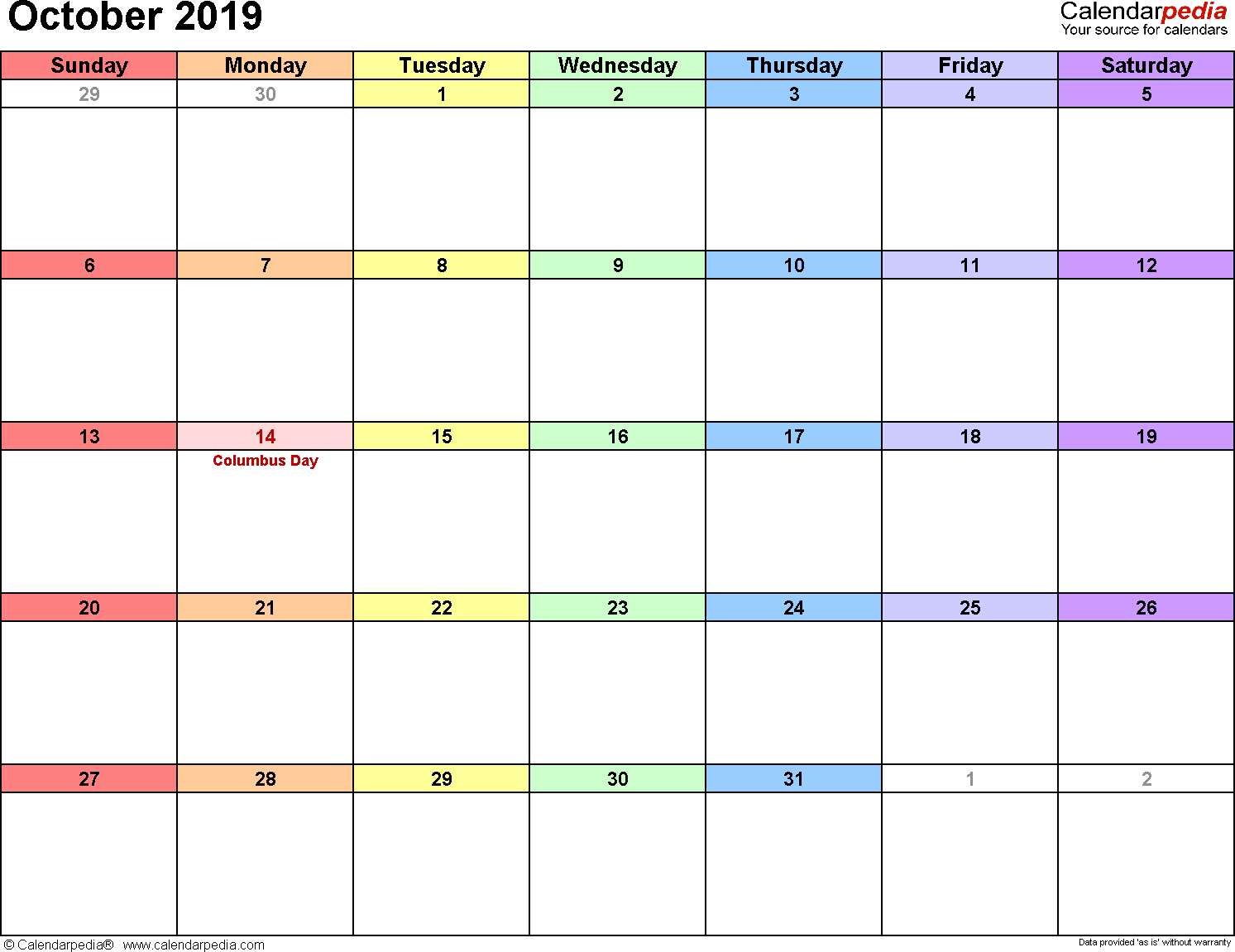 October 2019 calendar, landscape orientation, 'rainbow calendar', available as printable templates for Word, Excel and PDF