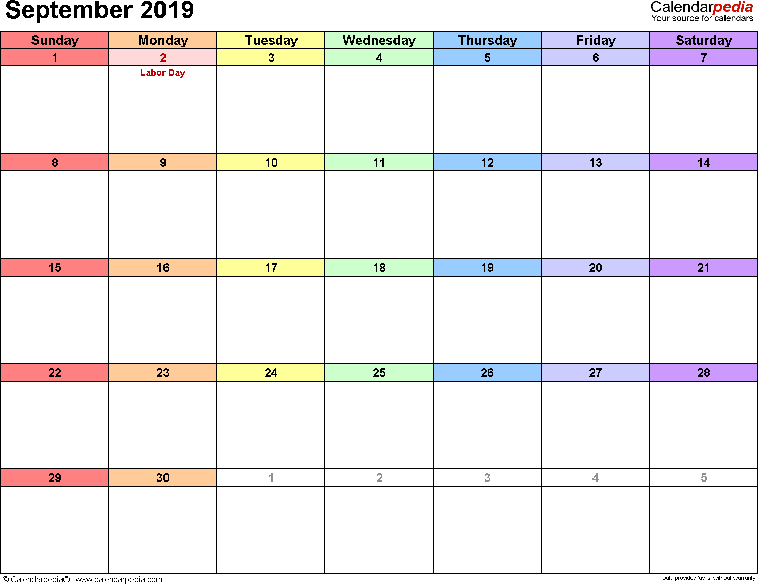 September 2019 calendar, landscape orientation, 'rainbow calendar', available as printable templates for Word, Excel and PDF